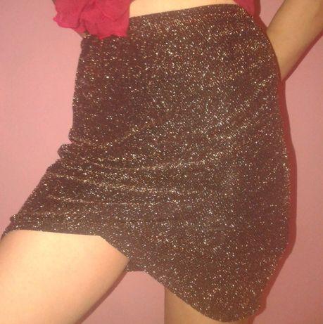 Блестящая юбка на высокой талии несколько для девушек