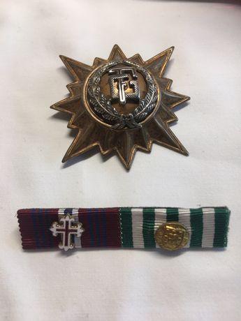 Militar - emblema de boné Guarda Fiscal e fita de medalhas