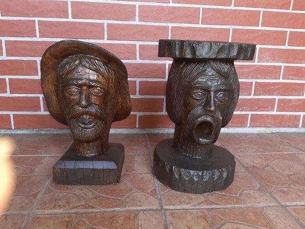 Rzeźba Chłop Chłopek Dąb 38 cm x 24 cm