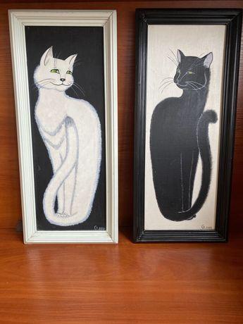 картина, картина масло, диптих, коты, подарок, интерьер