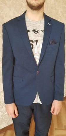 Пиджак мужской синий свдебный, классика приталеный