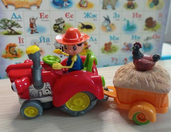 Трактор, Фермер с прицепом. Музыкальная интерактивная игрушка