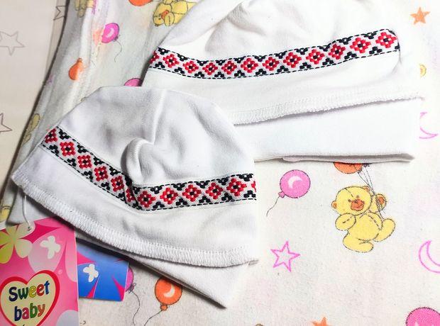 Шапочка/чепчик для новорожденных с украинским орнаментом 56/62