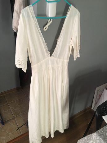 Zara sukienka maxi boho haft 36