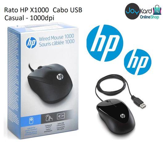 Rato HP X1000 (Cabo USB - Casual - 1000dpi - Preto)