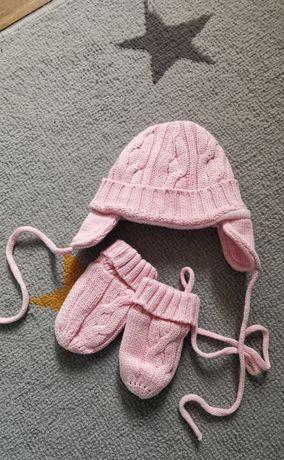 Różowy komplet zimowy czapka + rękawiczki
