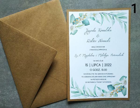 Zaproszenia ślubne jednokartkowe A5 rustykalne eko zielone liście