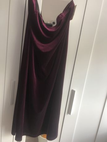 Welurowa, długa spódnica maxi aksamitna burgundowa w kolorze wina  XXL