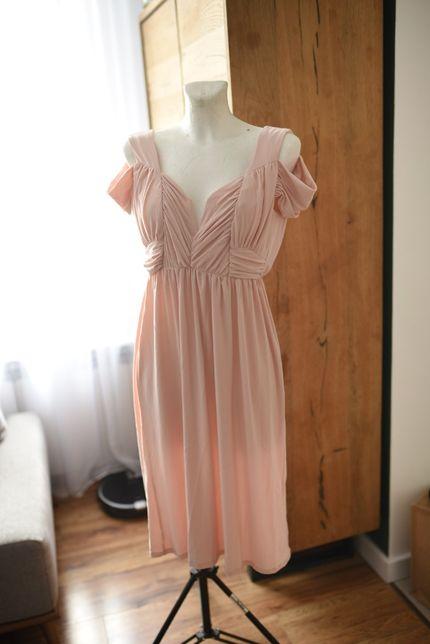 Sukienka ASOS nowa z metkami pudrowy róż na wesele elegancka 38 M