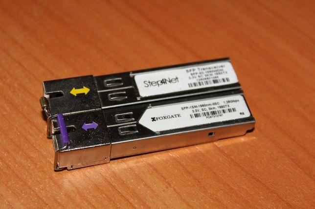 Пара SFP 1550 + 1310 (1 Гбит, SC, 3 км, Foxgate, Step, D-link, сфп)