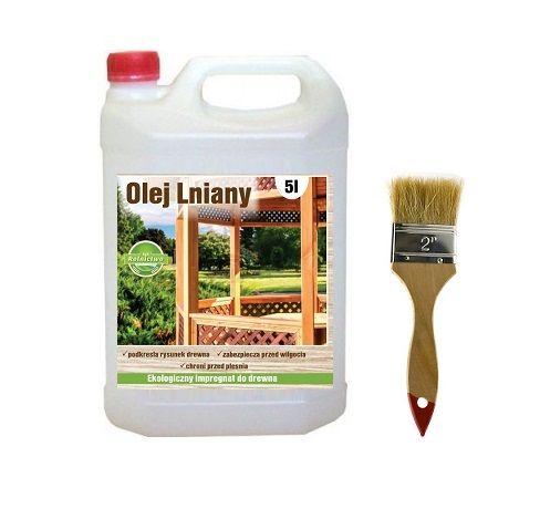 Olej lniany 100% naturalny impregnat do drewna 5 litrów GRATIS pędzel