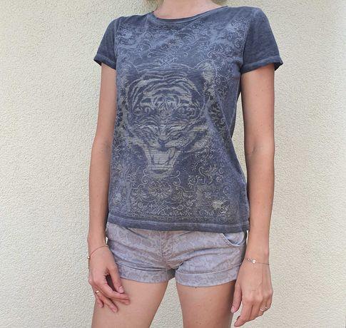 Bluzka Zara S bawełniany t-shirt grunge rebel szary