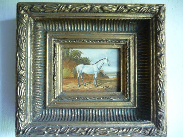 Sygnowany obraz olejny zdobiona rama koń