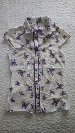 Bluzka koszula z krótkim rękawem damska xs biała
