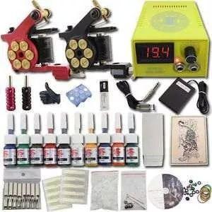 Novo kit profissional tatuagem 2 máquinas 10 tintas e todo o material