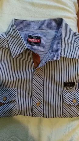 Koszula męska rozm XL, krótki rękaw, w paski niebiesko-biale