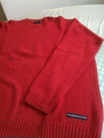 Camisola em linha de algodão vermelha nova marca Quebramar