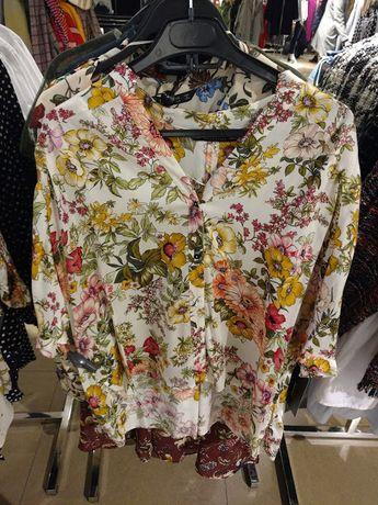Asymetryczna jasna koszula floral kwiaty Zara r. 34 XS Oversize