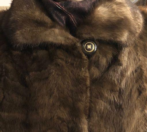 Luksusowe futro z norek brązowe jak nowe 42 długie