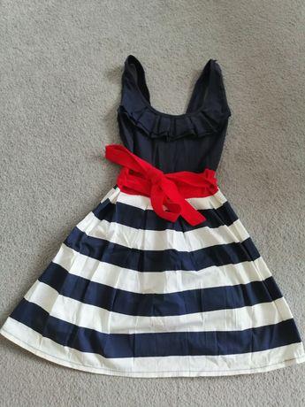 Sukienka w paski granatowa XS s