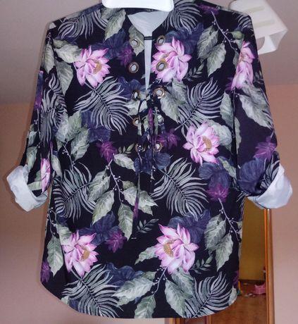 Bluzka kwiaty O'la voga wiązany dekolt sexi rozm.40