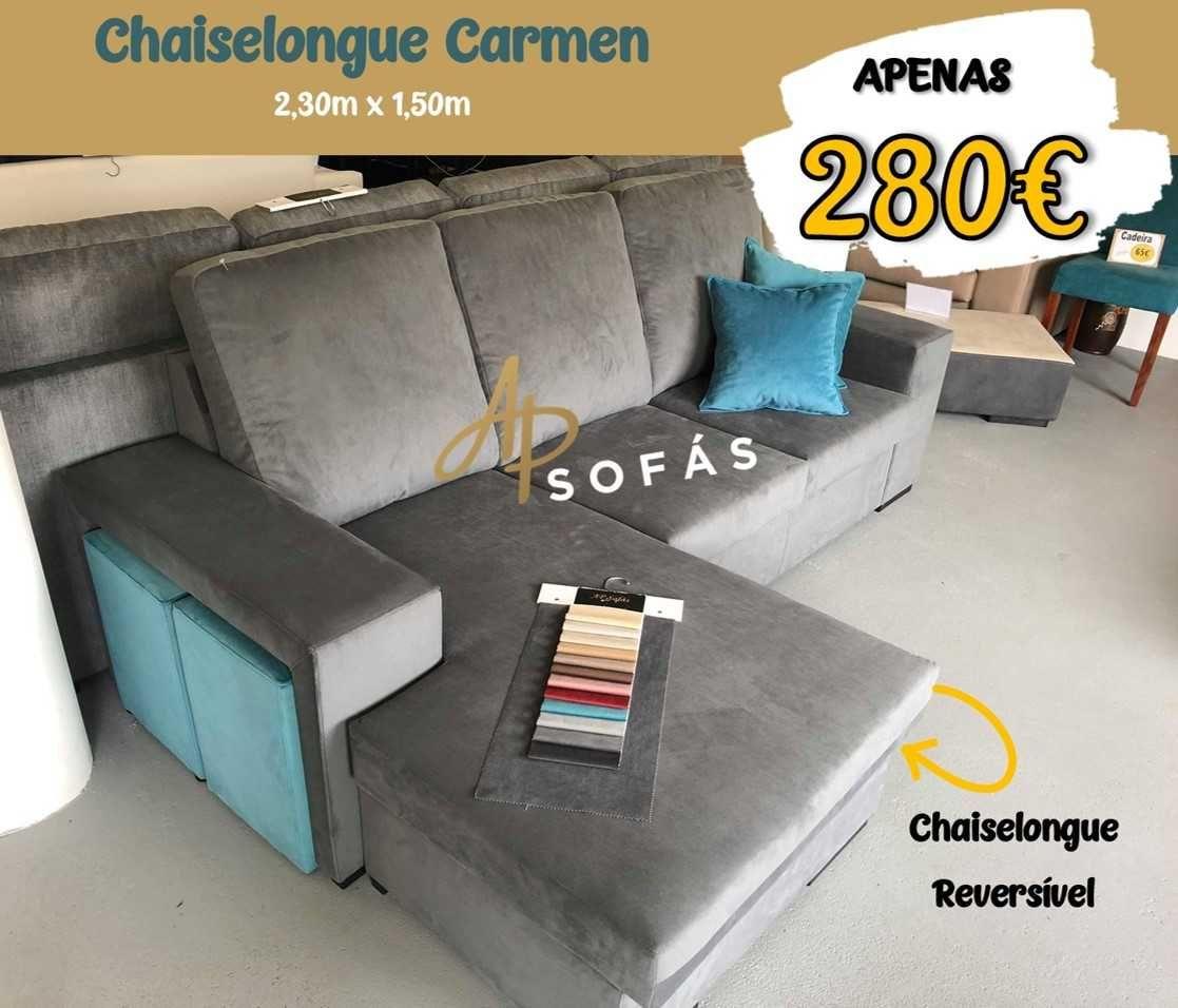Sofá Chaiselongue Carmen com 2 puff's incluídos - ENCOMENDE ONLINE
