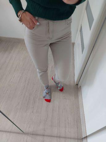 NOWE spodnie jeansowe beige 34