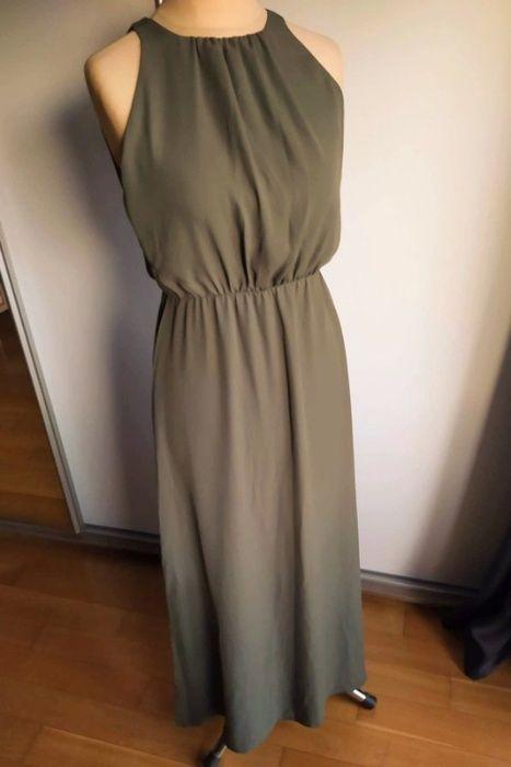 sukienka długa maxi oliwkowa khaki Lola rozcięcie plecy Gaj - image 1