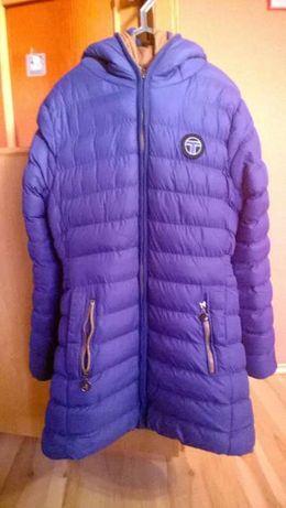 zimowa ciepła niebieska kurtka