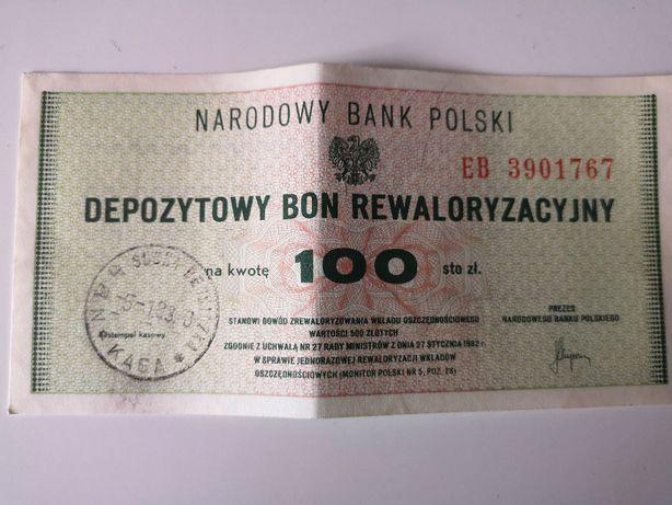 Depozytowy Bon Rewaloryzacyjny 100zl