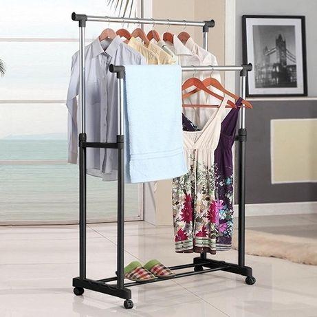Вешалка стойка для одежды напольная двойная телескопическая Double-Pol