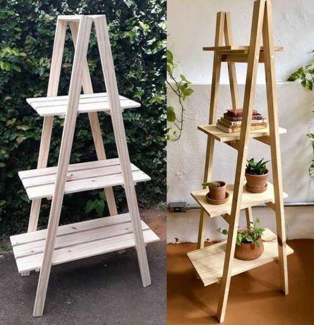 suporte para plantas e floreiras em madeira