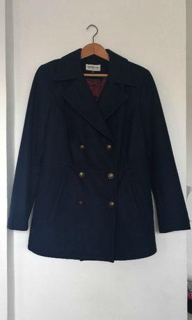 Granatowy płaszcz r.M/L marynarski wełniany zimowy dwurzędowy