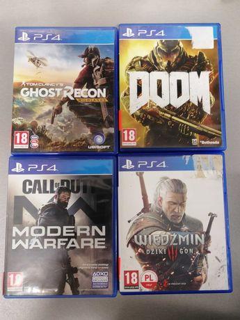 Gry na PS4:Ghost recon,Moder warfere,Wiedzmin3,Doom