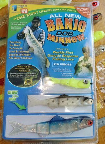 Американская силиконовая приманка banjo 006 minnow в наборе