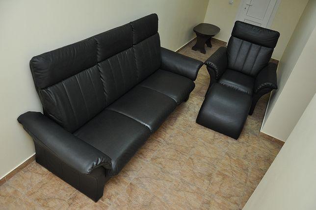 Кожаный диван, кресло, пуф гарнитур! Раскладной диван! Кожа-Эко! Идеал