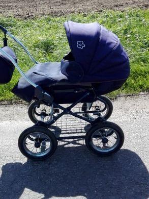 Sprzedam wózek dziecięcy Roan Marita granatowy - biała gondola