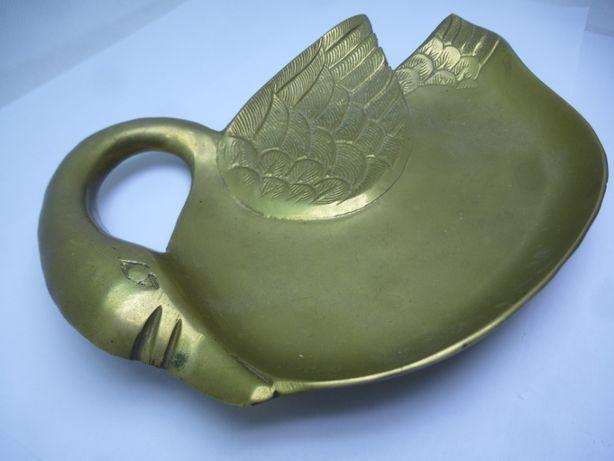 Taca mosiężna ręcznie wykonana łabędź 300g ok 20cm