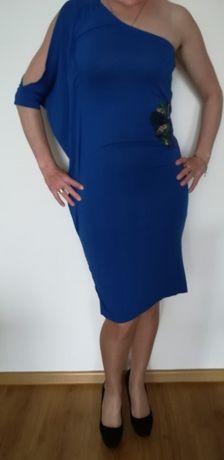 Niebieska olowkowa ołówkowa sukienka 36-38