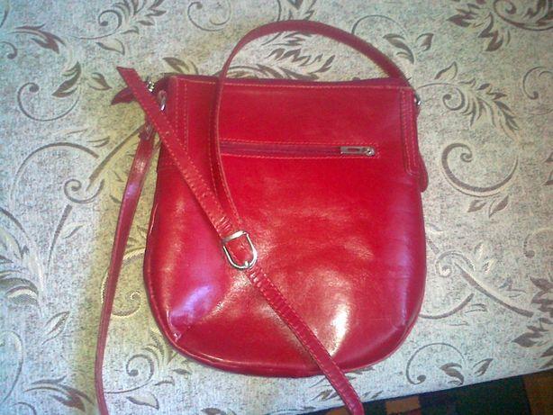 skórzana damska torebka czerwień