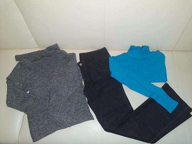 czarne spodnie sweter golf bdb stan roz 146/152 lub XS/S