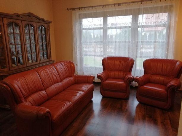Skórzany komplet: sofa + 2 fotele
