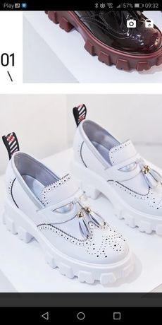 Extra buty oxford trapery białe 38 koturny platformy