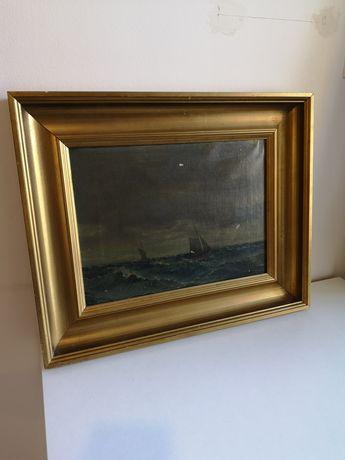 zabytkowy stary obraz olejny na płótnie sygnowany