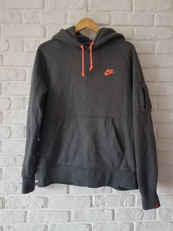 Bluza męska Nike z kapturem szara z pomarańczowym rozmiar M