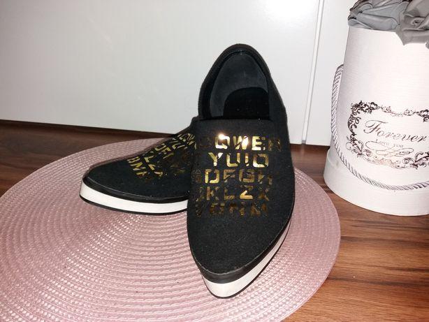 Lu Boo buty na jesień złote napisy  R38