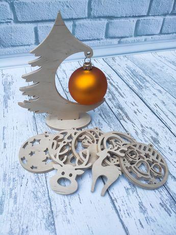 Ёлка из фанеры, деревянные игрушки на ёлку, новогодняя ёлка