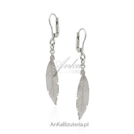 ankabizuteria.pl Kolczyki srebrne piórka diamentowane - śliczna biżute