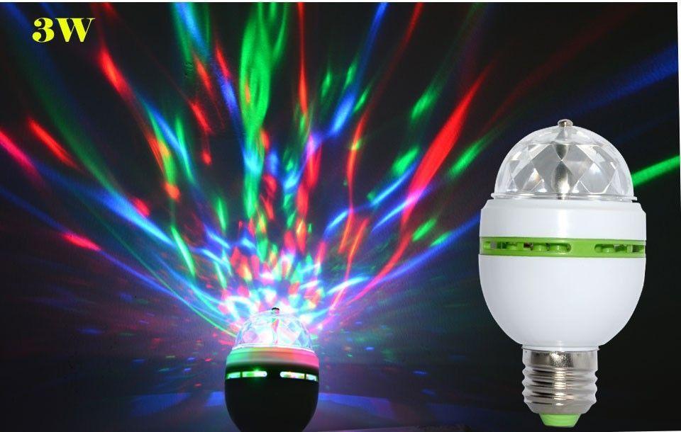 Lâmpada LED RGB E27 3 W Colorido Auto Rotativa Mosteiros - imagem 1
