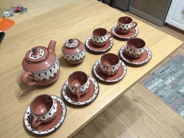 Filiżanki ceramiczne dzbanek cukierniczka zestaw 6szt